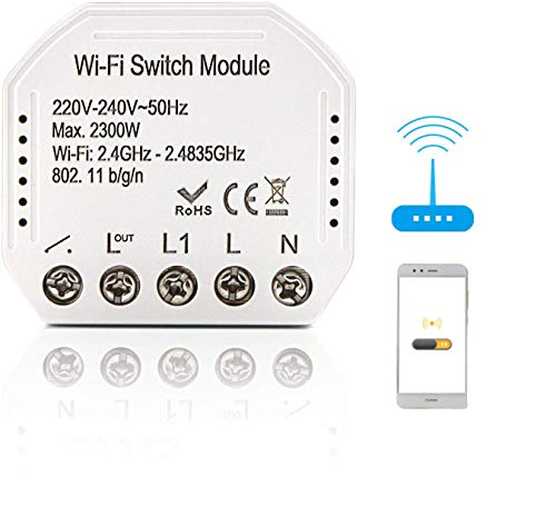 BeauFlw WiFi Smart Lichtschalter DIY Breaker Modul Smart Life/Tuya APP Fernbedienung, Arbeiten mit Alexa Echo Google Home 2 Way 2300W
