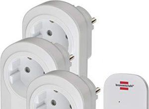 Brennenstuhl Funkschalt-Set RC CE1 3001 3er Funksteckdosen Set mit Handsender und Kindersicherung weiß