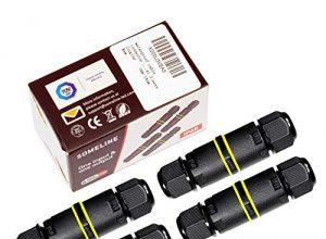 Verbindungsbox Abzweigdose Verbindungsmuffe Wasserdicht IP68 Verteilerdose für Ø4-8 mm Kabeldurchmesser SOMELINE Schwarz Anschlussdose 4 Stück