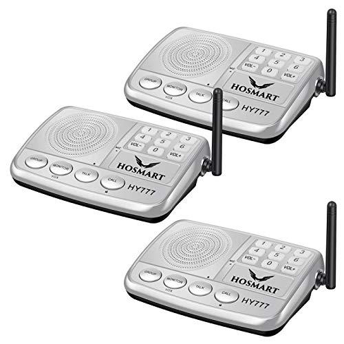 Wireless Intercom System Hosmart 1/2 Mile LONG RANGE 7-Kanal-Sicherheits-Funksprechanlage für Zuhause oder Büro3 Stationen Silber