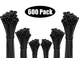 GeekerChip Nylon Kabelbinder 600 Stück,Hohe Qualität Selbstsichernde Kunststoff-Kabelbinder 100mm/150mm/200mm Schwarz