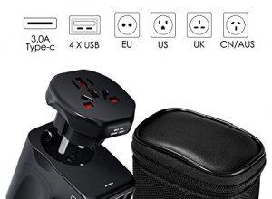 VGUARD Reiseadapter Reisestecker Weltweit 150+ Ländern Universal Travel Adapter 4 USB Ports Type C Internationale Netzadapter mit Deutschland Europa Stecker für Thailand USA Australian usw – Schwarz