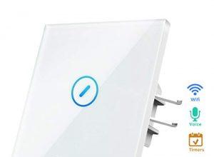 TEEKAR【Schaltbares LED】Smart Alexa Lichtschalter Touchscreen, WLAN WiFi Schalter Unterputz Kompatibel Mit Alexa, Google Home Und IFTTT, Timing-Funktion Und APP Fernbedienung, 80mm Abmessungen, 1 Weg