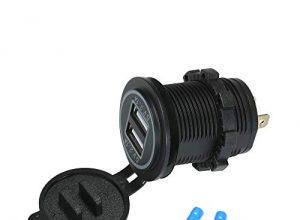 Docooler 12V USB-Ladegerät Buchse Dual Ladegerät Buchse Wasserdichte Steckdose 5V / 4.2A LED-Anzeige für Auto RV Boot Marine Motorrad
