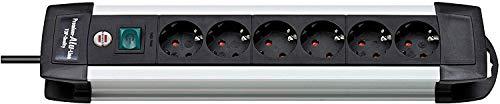 Brennenstuhl Premium-Alu-Line, Steckdosenleiste 6-fach – Steckerleiste aus hochwertigem Aluminium mit Schalter und 3m Kabel Farbe: schwarz