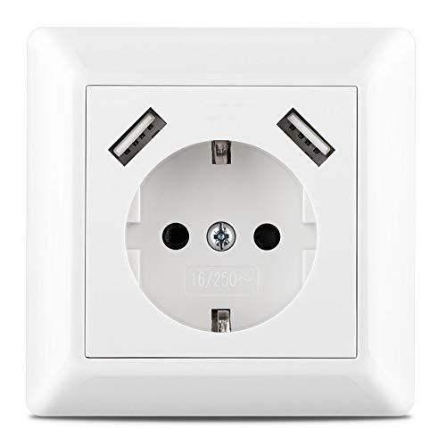 230 V Steckdose mit 2 x USB Ladegeräten, Schuko Wandsteckdose Unterputz, passend für Gira System 55, E2, Reinweiß seidenmatt, Weiß matt, TÜV Rheinland zertifiziert Einfachsteckdose