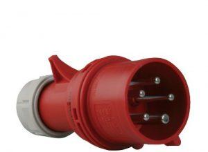 PCE 40899L CEE-Stecker mit Phasenwender, 32A, rot, lose
