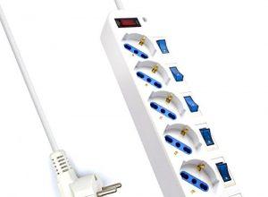 Ewent EW3932-3M 6-fach Steckdosenleiste mit Überspannungsschutz und mit Eigenen Beleuchteten Schaltern für jede Buchse, 3, 0 m Kabel, weiß