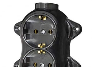 Steckdose-FEST retro -2-fach-16A-250V-Aufputz-Montage-Messing-dick Schwarz RETRO Bakelit-OPTIK ALT