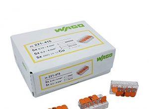 30 Stück Wago 221-415 Verbindungsklemme 5 Leiter mit Betätigungshebel 0,2-4 qmm kleine Bauform, transparent
