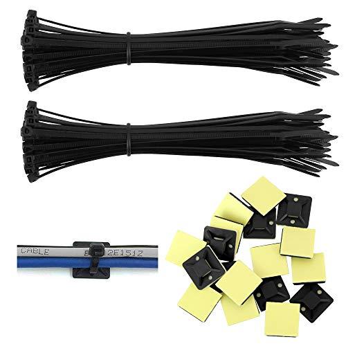 LYTIVAGEN 100 Stück Kabelbinder Schwarz 150mm x 2,5mm, 100 Stück Klebesockel 19mm x 19 mm für Kabelbinder, Kabelbinder Set für die Kabel in Wohnungen, Schulen, Büro