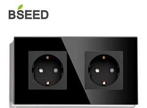 BSEED Wandsteckdose 2 Fach Kristall Glas Platte Doppel Steckdose 16Amp Steckdose 157mm Schwarz Verlängerungssteckdosen