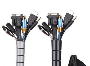 Universal Kabelschlauch 2×1.5 M Flexible Kabelkanal Cord Organizer Kabelhülle Schutz-System fürTV, Computer, Heimkino, Schwarz und Grau150x ∅28mm,150x∅22mm