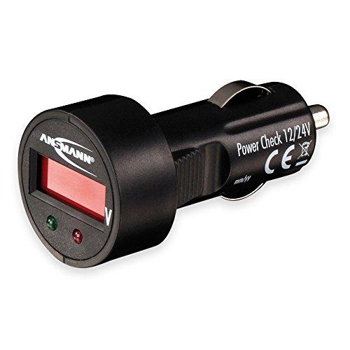 ANSMANN Power Check 12/24V Spannungsmesser / Prüfgerät und LED Voltmeter für Zigarettenanzünder / Ideal geeignet für 12V & 24V Autobatterien / Mit LED Display