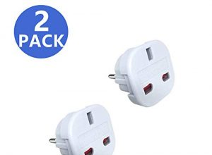 JSDOIN Reiseadapter UK auf EU Euro Adapter, Weiß, 2 Pin