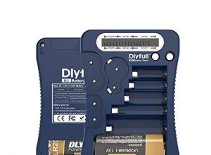DLYFULL LCD Universal Batterietester für AA, AAA,C,D,9V Digitaler Testgerät für CR123A,CR2,CRV3,2CR5,CRP2 Batterie Testgerät für 1.5V und 3V Knopfzellen Blau