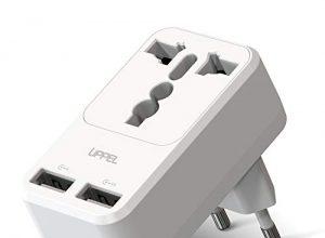 UPPEL Reiseadapter Adapter Deutschland Reisestecker Universal Mit Zwei USB Ports 2.4A Für Europa, Reisestecker Aus Großbritannien Deutschland China Indien US EU AU Weitere Länder nach EU Weiß