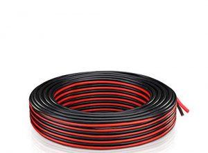18 AWG Elektrischer Kabel 2x 0.82mm² – Verlängerung Draht litze 300V 21.3M Rot + 21.3M Schwarz Niederspannung DC Wire Hookup Kupfer Stranded für Led Strip Driver, Auto und andere
