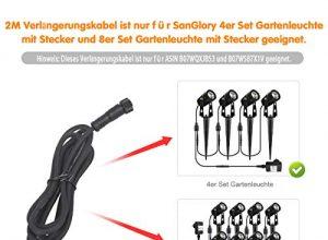 SanGlory 2 Stück 2M LED Gartenleuchter Verlängerungskabel IP68 Wasserdicht Nur für die 4er Set und 8er Set Gartenleuchte auf diesem Link geeignet, kann nicht für andere Produkte verwendet werden