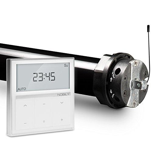 NOBILY Profi-Set elektromechanischer Funk-Rolladenmotor PR5 10/15-60 inkl. Funk-Timer Zeitschaltuhr Exquisit Wandsender für die 60mm Achtkant-Welle – bis 25Kg