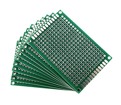 GOKarli Lochrasterplatte Lochrasterplatine Leiterplatte Streifenraster Platine PCB Universal Board doppelseitig 2,54 mm 10Stk. 4 x 6 cm