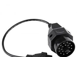 20PIN OBD1 bis 16PIN OBD2 Adapterstecker Scanner Kabel 20 Pin OBD2 Adapter Stecker Diagnosekabel Runde Diagnosescanner Adapterkabel für E36 E38 E39 E46 E53 X5 Z3