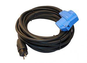 netbote24® Adapterkabel Schutzkontakt Gummistecker IP44 auf CEE-Winkelkupplung mit integrierter Schutzkontaktsteckdose 16A H07RN-F 3G 1,5mm² 10m