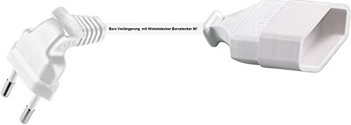 0,5m Euro Verlängerung mit Winkelstecker Eurostecker 90° Kabel weiss