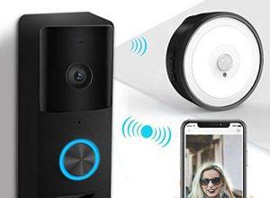 Video Türklingel Mit Kamera, YIROKA Video Doorbell Wifi Funk Gegensprechfunktion Bewegungsmelder Mit Monitor IP55 Wasserdichte 720P HD Schwarz