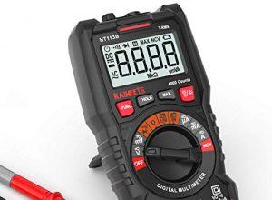 Digital Multimeter, KAIWEETS Strommessgerät Auto Ranging True RMS 4000 Counts, Messung von AC/DC Spannung, Strom, Widerstand, Diode, Durchgangsprüfung, Battrietester für Zuhause, KfZ etc. Rot