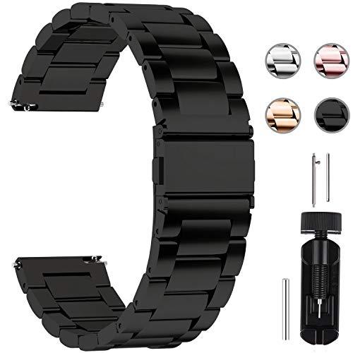 Top 10 Uhrenarmband 20mm Metall Schwarz – Smartwatch Ersatzarmbänder